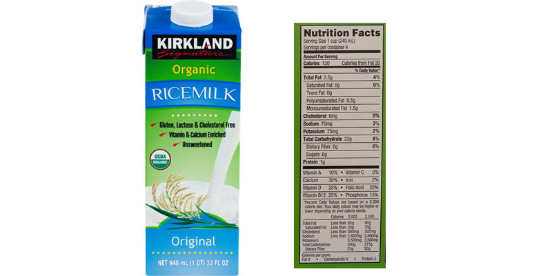 nutrition comparison of kirkland rice milk