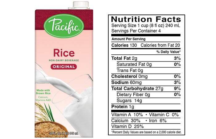 pacific rice milk nutrition