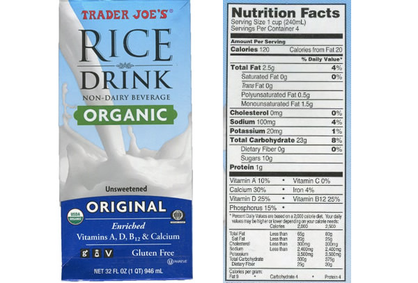 Trader Joe's Rice Drink Nutrition