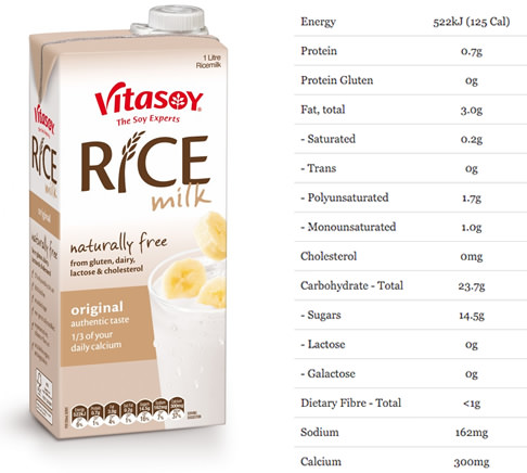 nutrition of vitasoy rice milk