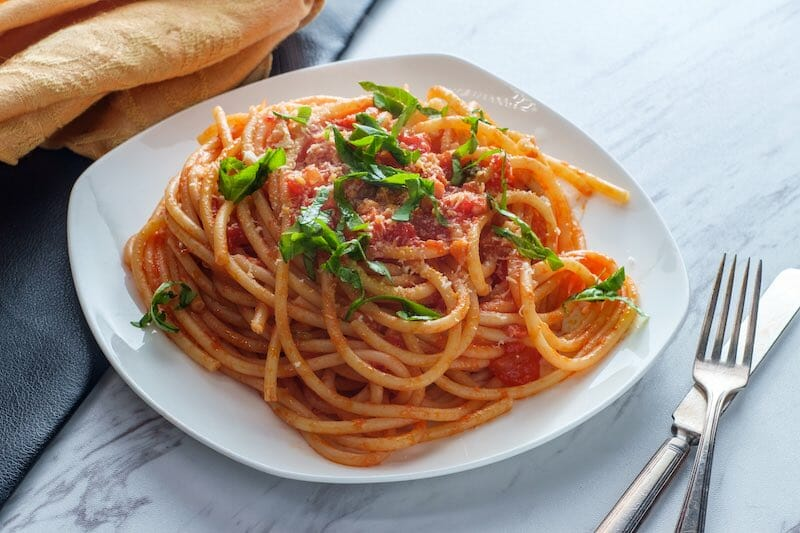 legume pasta and red sauce plant-based